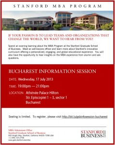 Stanford MBA Info Session Bucharest